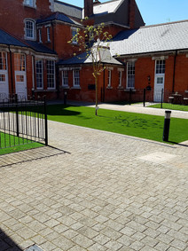 Artificial grass courtyard