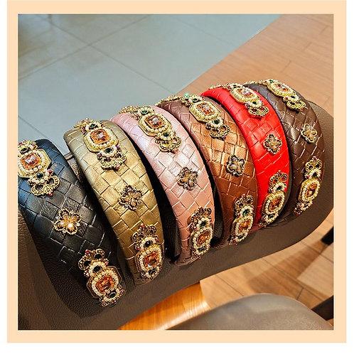 Gem Stone Leather Headband