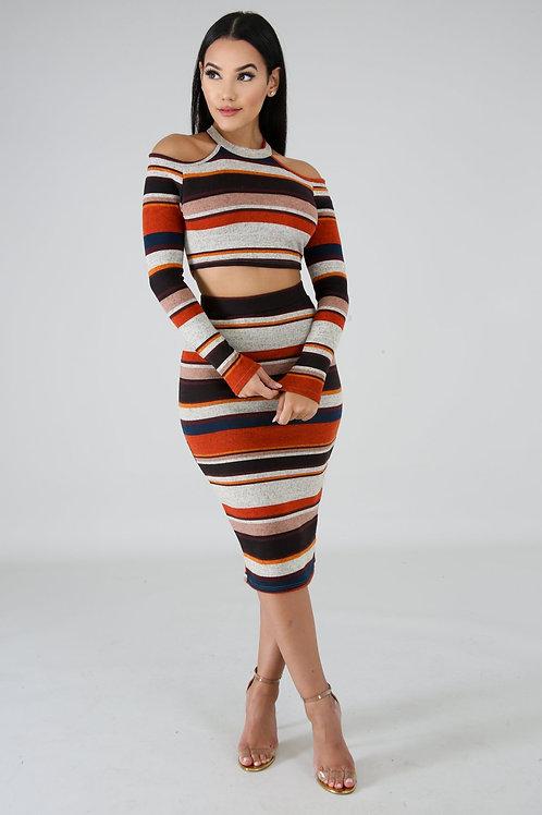 Knit Stripe Skirt Set