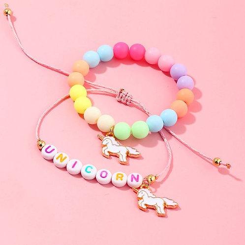 Children's Candy Color 2-Peice Unicorn Bracelet