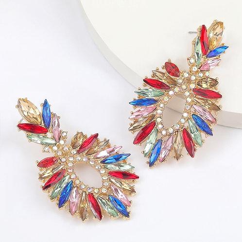 Rhinestone Willow Leaf Earrings