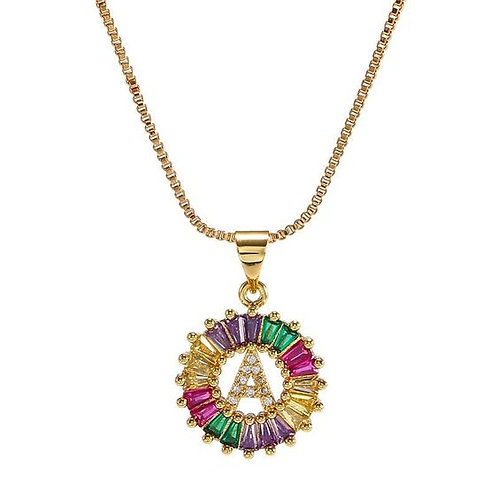 Multicolor Personalized Letter Stone Necklace