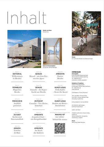 Küchen & Design Magazin Inhaltsverzeichn