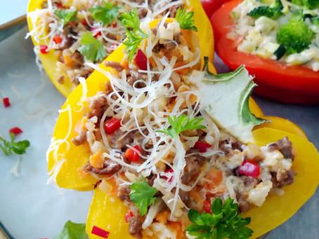 Täytetyt paprikat, kasvis- ja lihatäyte