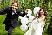 Portrait of laughing children bride and