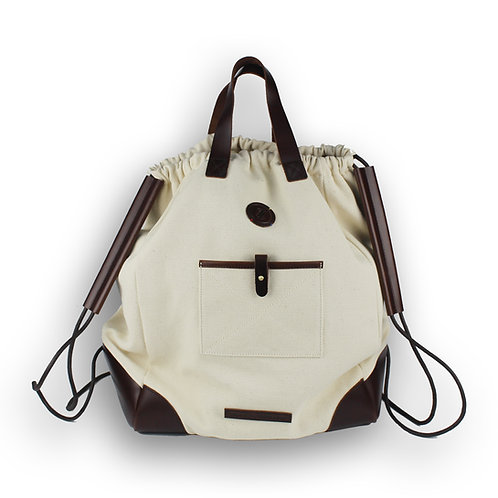 The Williamsburg Drawstring Tote - Vintage White