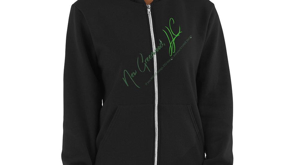 Hoodie sweater with New Greenwood, LLC logo