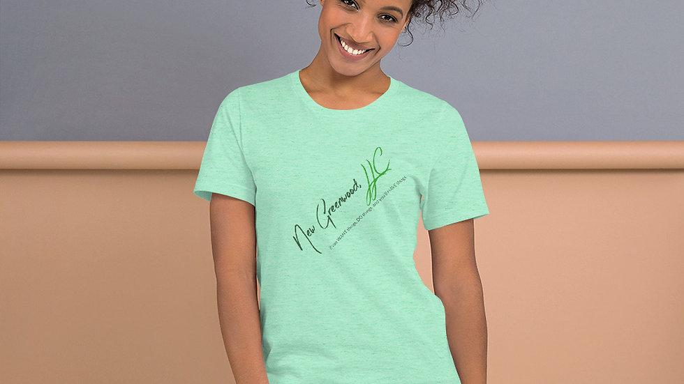 Short-Sleeve T-Shirt with New Greenwood, LLC logo