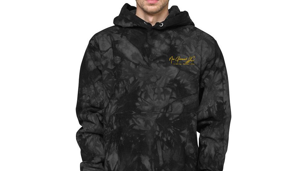 Tie-dye hoodie with gold New Greenwood, LLC logo