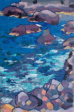 Rocks and ocean painting in oils