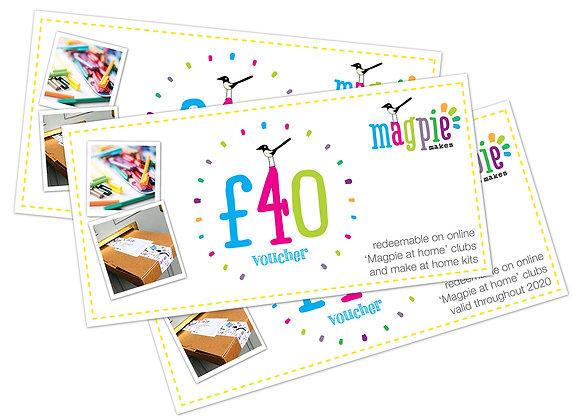 Magpie gift vouchers - £40