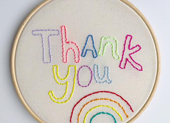Rainbow Thank You hoop
