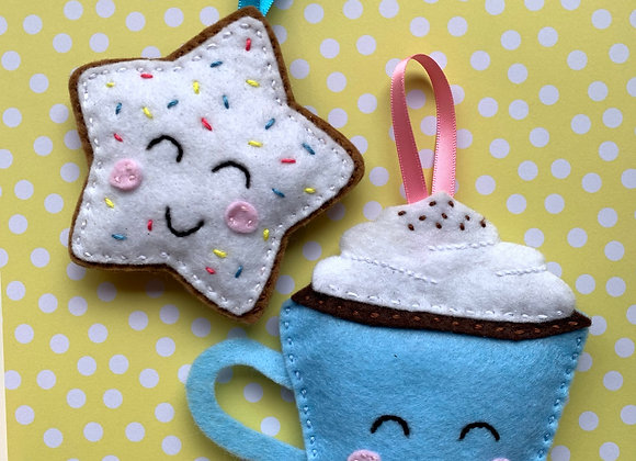 sew a festive hot chocolate & iced biscuit tree decoration