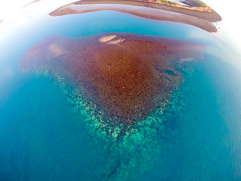 Aerial view of bleached Kimberley reef -