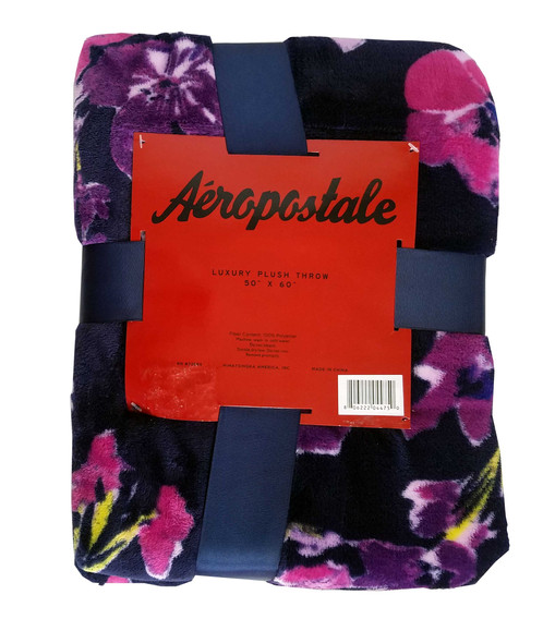 Aeropostale Purple Floral Plush Throw Blanket