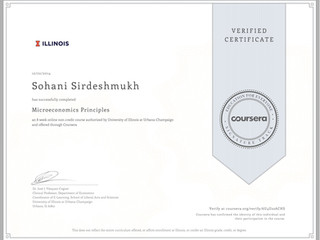 Coursera Verified Certificate in Microeconomics Principles
