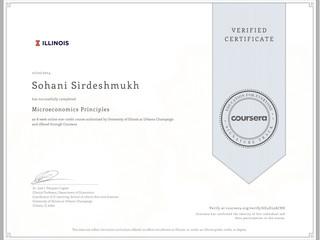 Coursera Verified Certificate in Microeconomics Principles