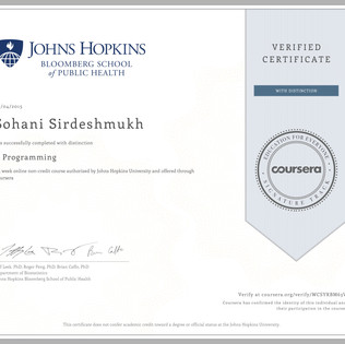 Coursera Verified Certificate - R Programming