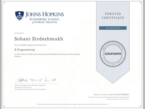 Coursera Verified Certificate - R Programming