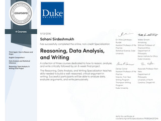 Coursera Verified Specialization in Reasoning, Data Analysis and Writing