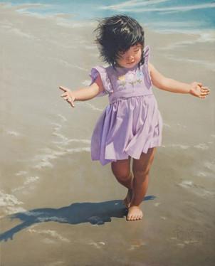 """Leah on the Beach, 36"""" x 44"""""""