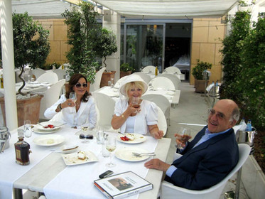 Lea with Mr. & Mrs. Metaxa, private collectors of Lea's art, in Athens 30 May 2007
