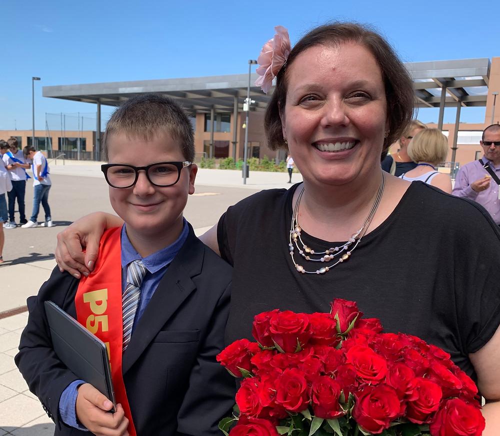 Lucas et son instituteur à école primaire Européenne de Mamer