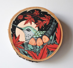 """Hummingbird and Japanese Maple"""