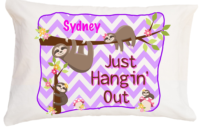 Sloth Just Hangin' Out w/Custom Name Standard Pillowcase
