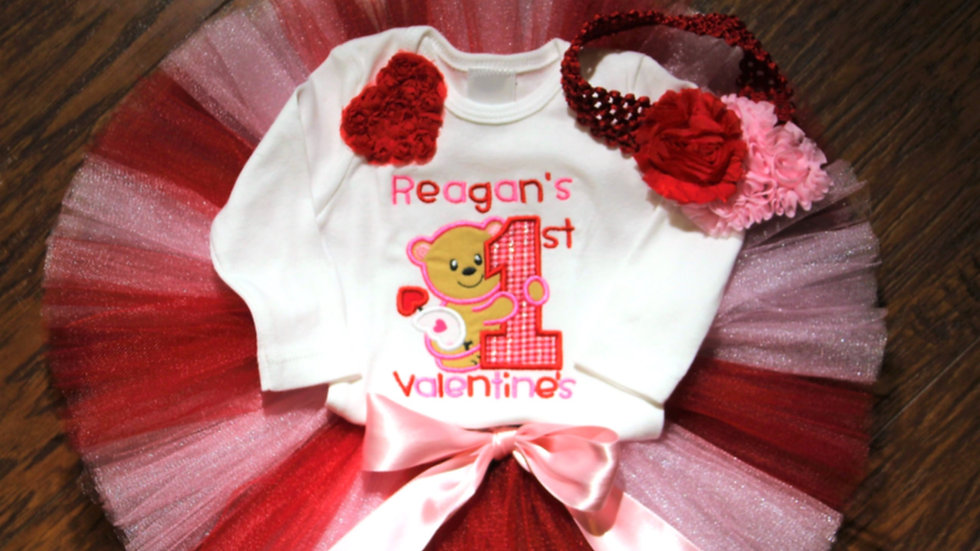 Baby girl first Valentine's Day bodysuit, red and pink tutu outfit