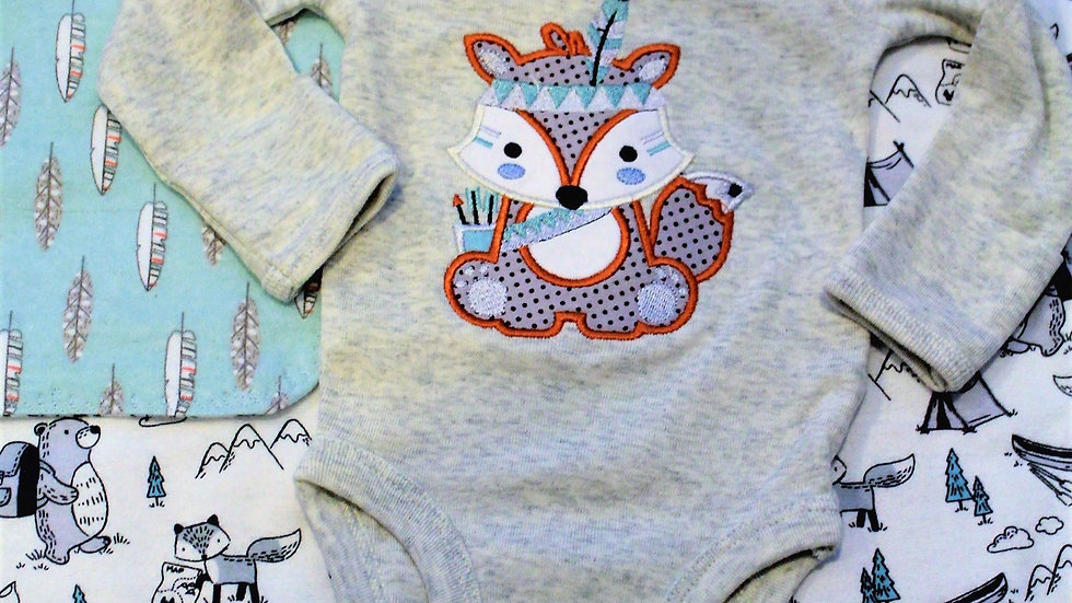 Baby boy Woodland creatures gift set, baby boy fox bodysuit baby shower gift