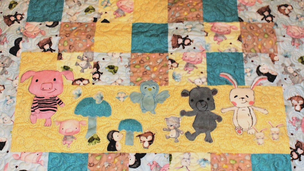 Forest friends baby quilt crib size quilt, pig, bunny, teddy bear, baby animals