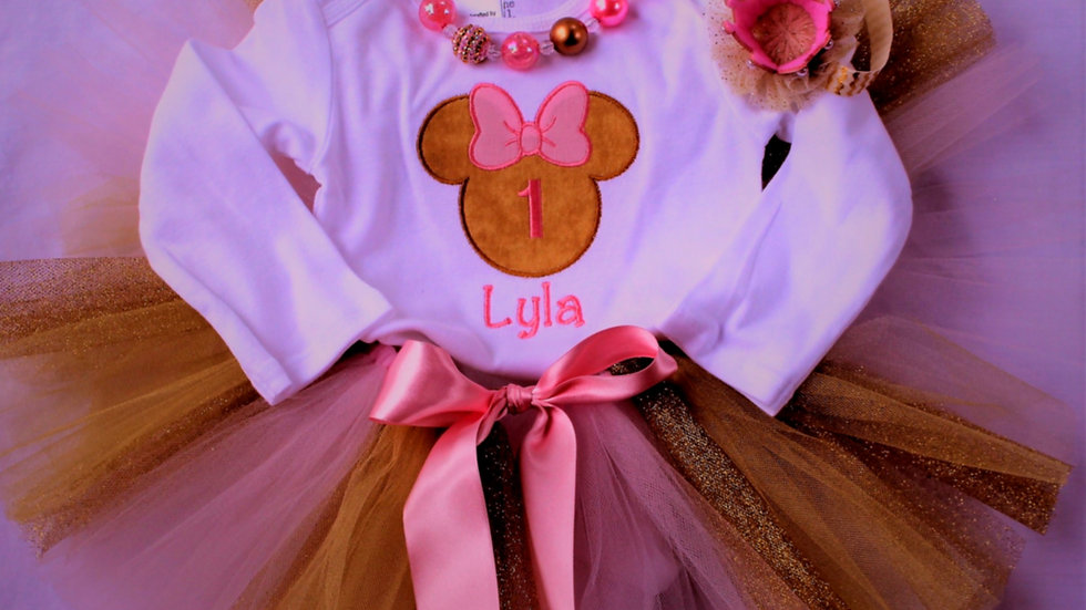Gold and pink Mouse 1st birthday first birthday baby girl  personalized bodysuit