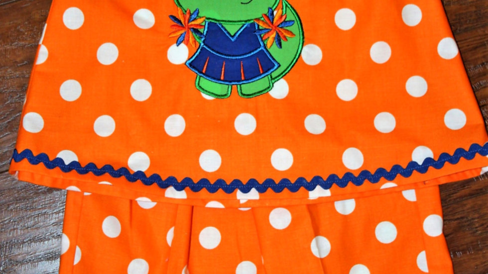 Orange and blue girl football outfit, toddler sports shirt and pants