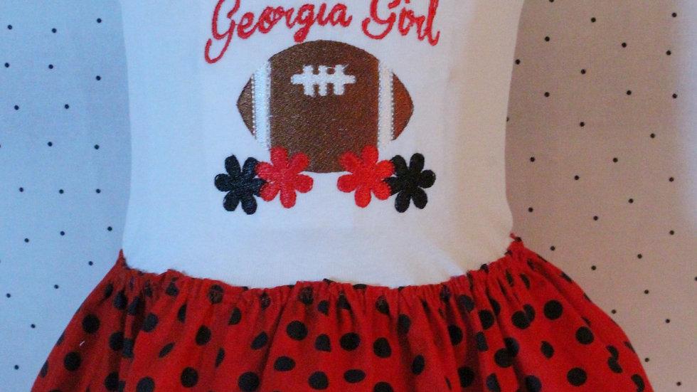 Baby girl football bodysuit dress red and black