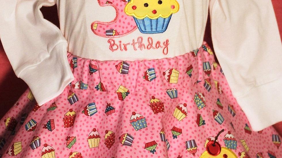 Girl 3rd birthday pink cupcake outfit girls third birthday shirt