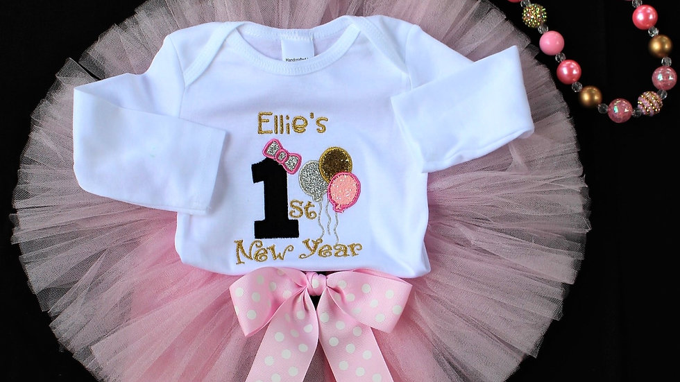 Personalized 1st New Year's Eve baby girl outfit pink and gold New Year baby hat