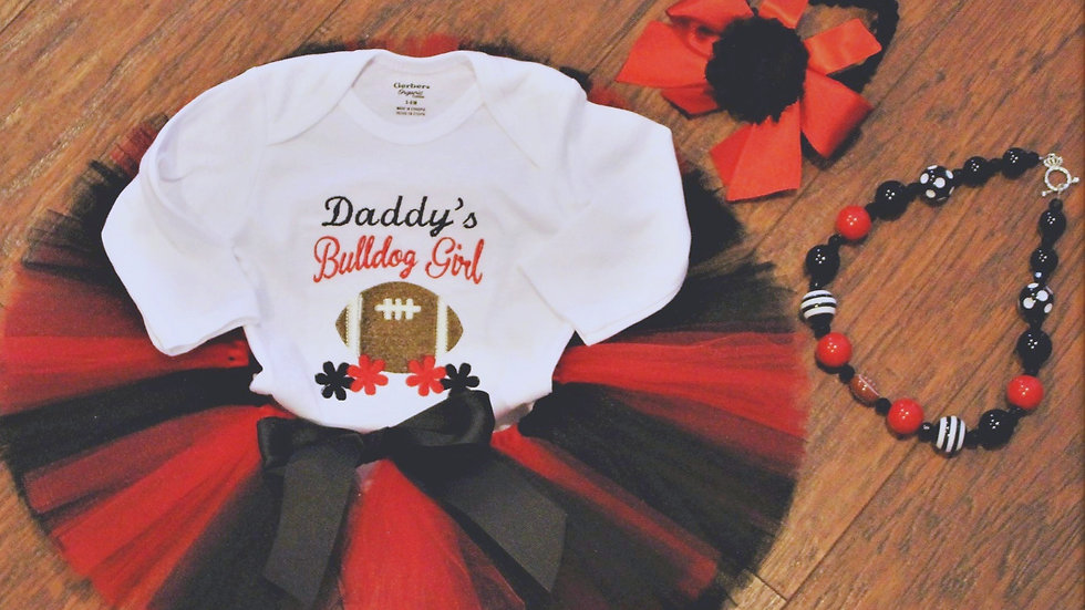 Red and black football outfit Daddy's bulldog girl