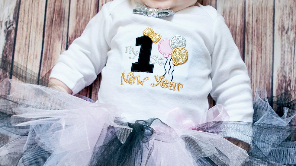My first New Year outfit baby girl first New Year's eve pink black silver