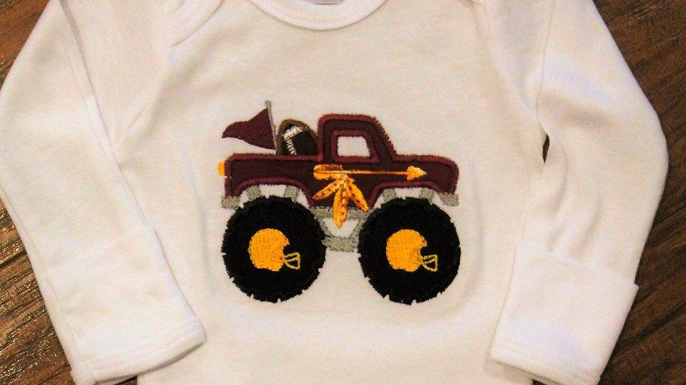 Indian monster truck baby boy bodysuit football garnet and gold shirt