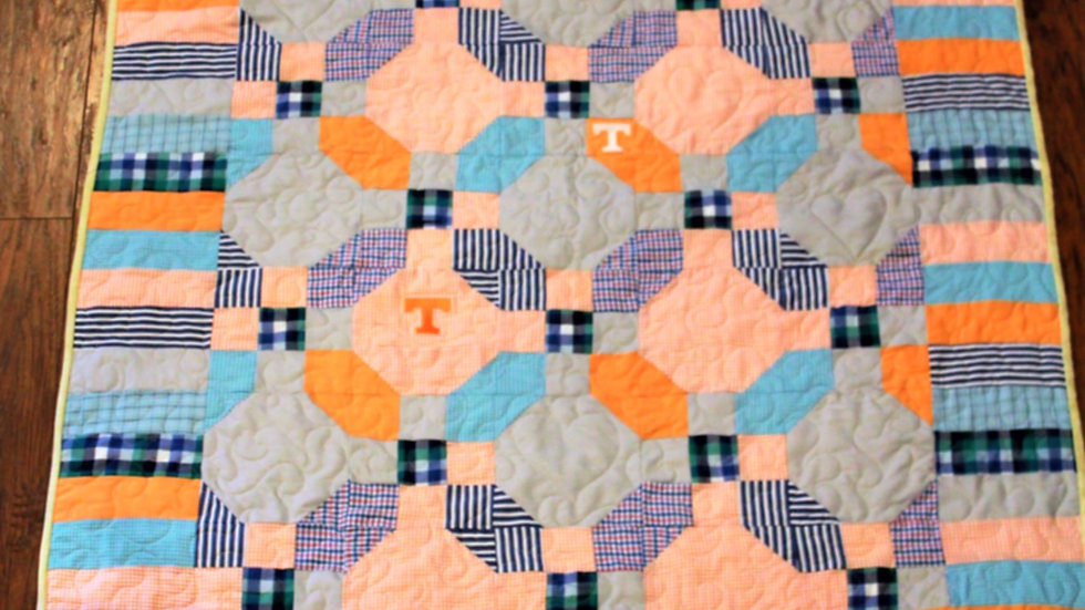 Memory quilt from men's shirts 7 shirt quilt handmade patchwork remembrance