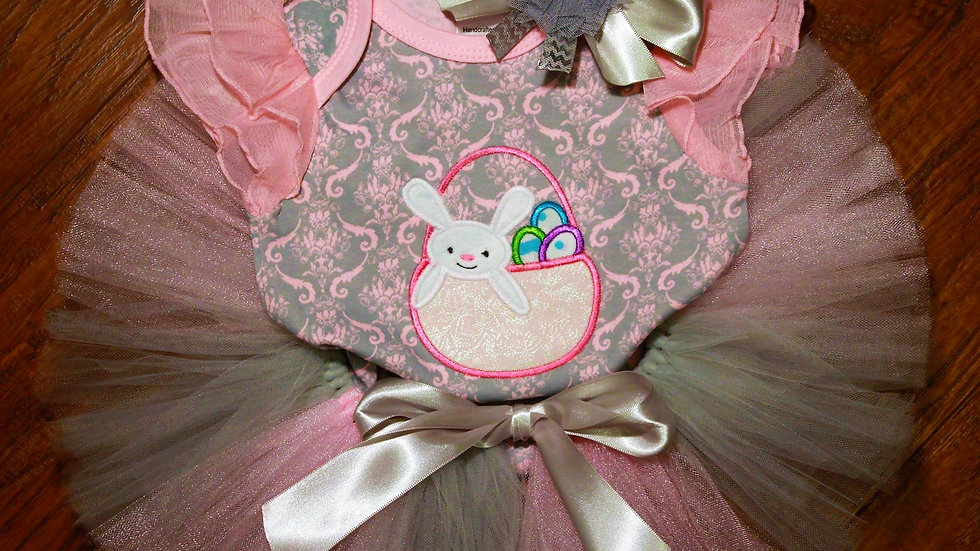 Pink and silver Easter bunny basket baby girl tutu outfit