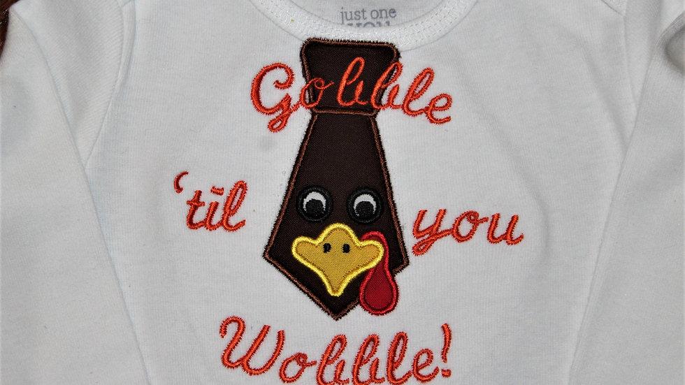 Gobble til you wobble baby boy Thanksgiving bodysuit neck tie shirt