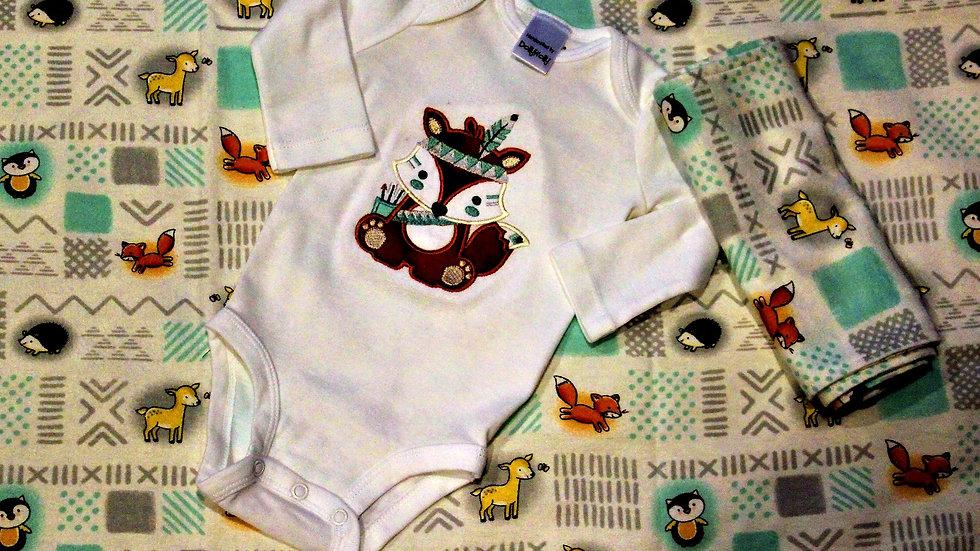 Fox woodland baby gift set baby boy blanket baby shower gift