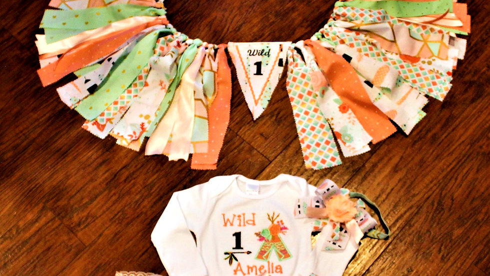 Wild One 1st birthday girl outfit Wild1 first birthday high chair banner