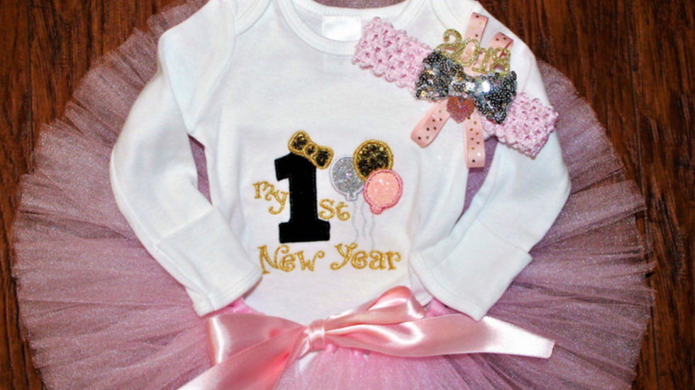 1st New Year baby girl personalized outfit, New Year's Eve baby shirt baby tutu