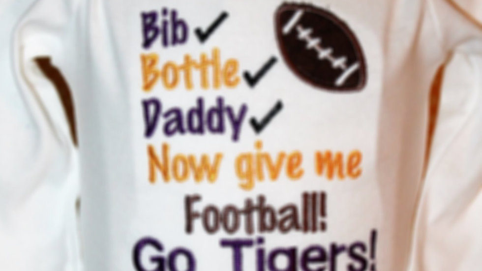 Bib bottle Daddy football bodysuit purple and gold Tiger bodysuit