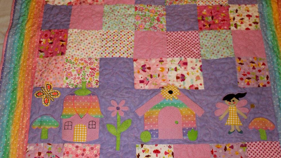 Baby girl fairy princess quilt fairy garden fairy houses rainbow quilts