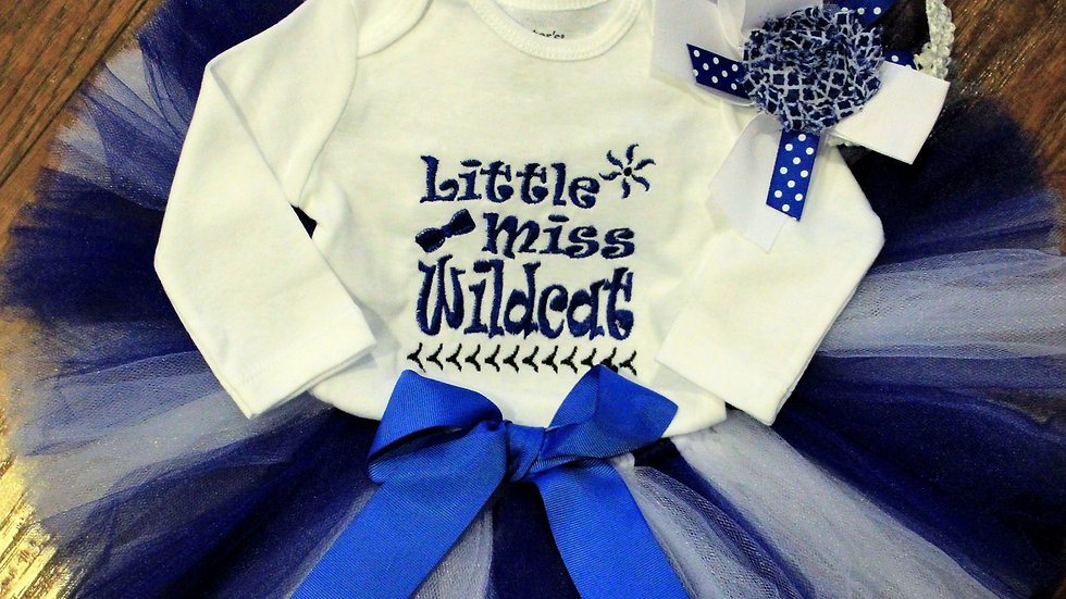 Blue and white girl football outfit wildcat baby girl bodysuit