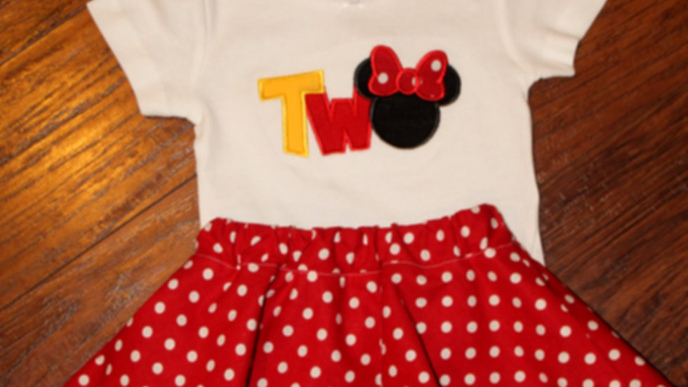 2nd birthday girl mouse outfit second birthday red and white polka dot skirt